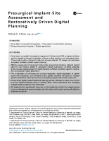 Presurgical Implant-Site Assessment and Restoratively Driven Digital Planning.